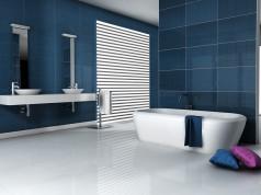 Salle de bain moderne bleue
