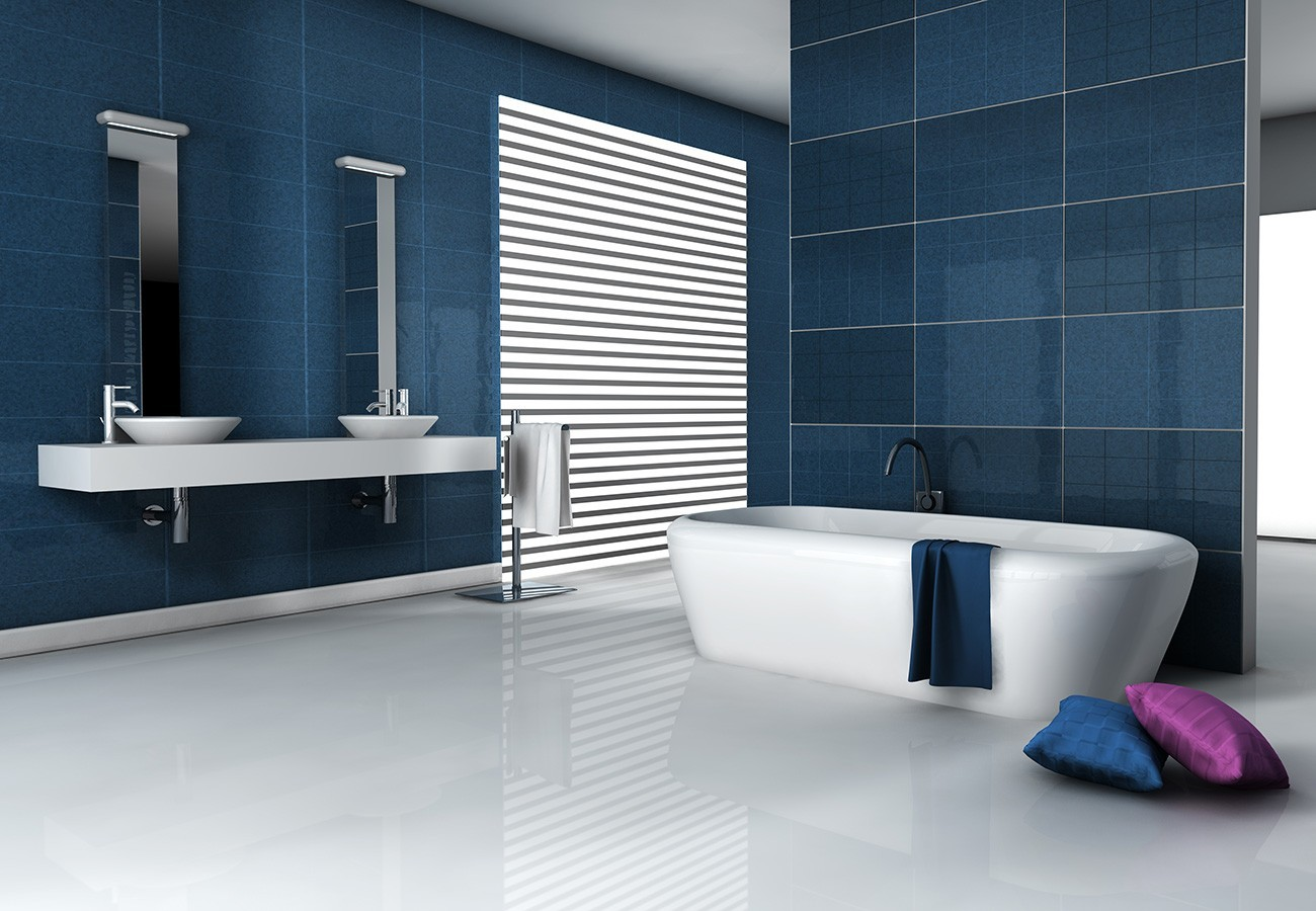 D coration salle de bain moderne bleu for Decoration sal de bain
