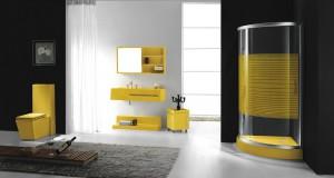 Douche cabine jaune et meubles jaunes