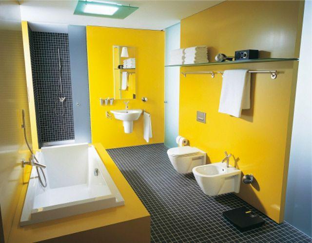 Salle de bains jaunes 32 id es pour une d coration lumineuse - Salle de bain jaune ...