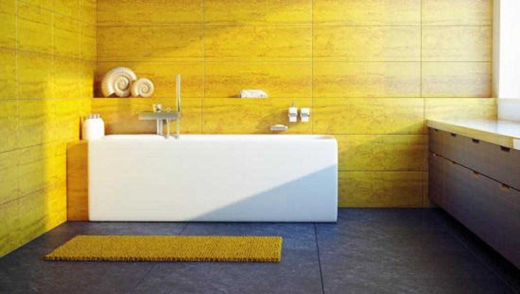 Salle De Bain Jaune Et Bois : Salle de bains jaunes : 32 idées pour une décoration lumineuse