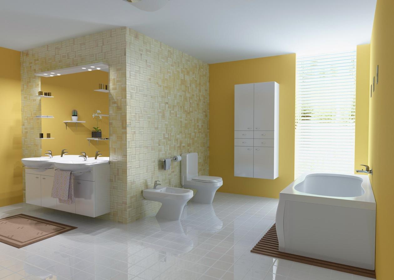 Salle De Bain De Style Moderne Avec Un Jaune Ocre Discret, Du Mobilier Blanc  Et Des équipements Blancs.