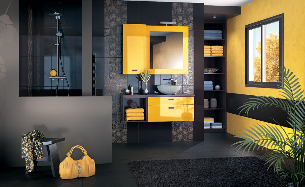 meuble salle de bain jaune. Black Bedroom Furniture Sets. Home Design Ideas